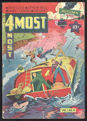 4 Most (1941) V1#4 1st Print Fish In The Face Cover Dick Cole Edison Bell GD/VG