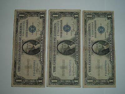 $1 Silver Certificates, Lot of 3, 1935C, 1935D & 1935E, Well Circulated. Lot #9.