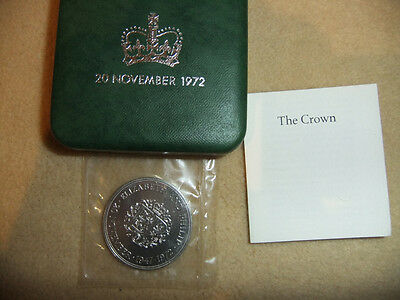 Silver Coin 1972 Royal Mint Sterling Crown The Silver Wedding CASED WITH COA 925