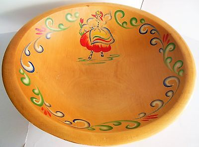 Vintage Woodcraftery Bowl Pennsylvania Dutch Hand Painted Woodcrafters German