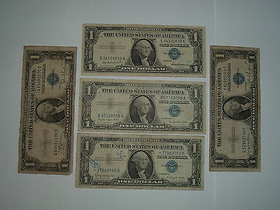 $1 Silver Certificates, Lot of 5, 1957 & 1935 Series, Well Circulated. Lot #5.