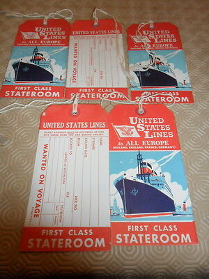 Lot De 5  Etiquettes Bagages United States Lines First Class Stateroom