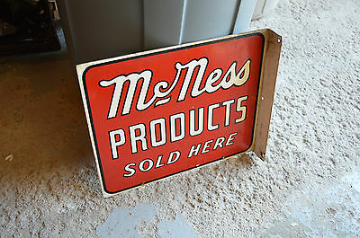 """McNess Products """"Sold Here"""" Porcelain Advertising Sign Double Two Sided Vintage"""