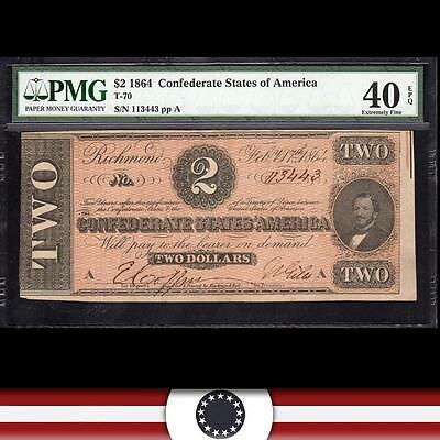 T-70 1864 $2 CONFEDERATE Currency, PMG 40 EPQ   113443