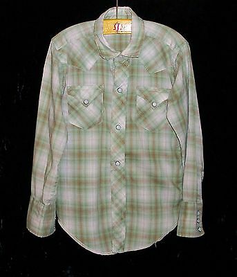 Boy's Vintage 1950's Collectible Western Plaid Shirt Pearly Snaps