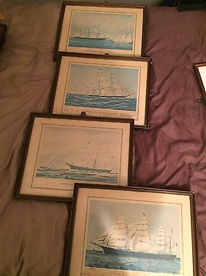 Set Of 4 Nautical Framed Prints Of Clippers