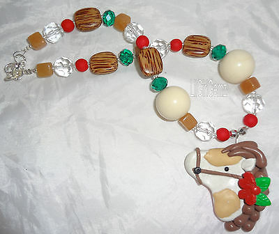 SALE girls holiday christmas horse clay beaded necklace boutique custom gift