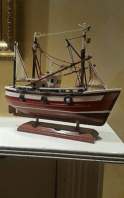 Vintage Wooden Model Fishing Boat Trawler on a Stand in Pristine Condition