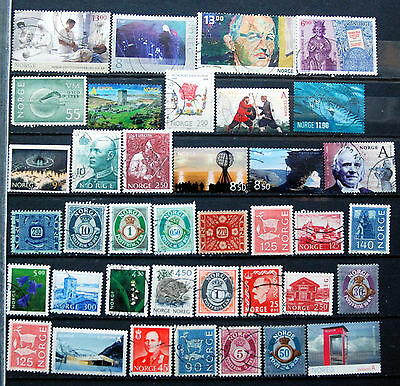 Fine Collection of Different Used Norwegian Stamps, Recent Norway Issues.