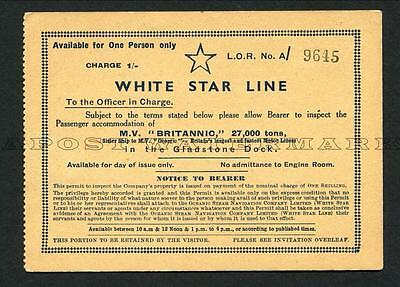"C1930/s White Star Line ""britannic"" -- Ticket To View The Ship"
