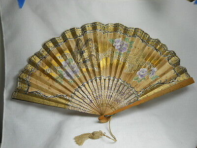 Vintage Asian Handpainted Fabric and Bamboo Fan with BUTTERFLIES