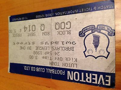 Everton v Luton 1988 match day ticket