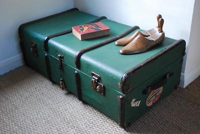 metal bound green vintage cabin trunk coffee table
