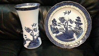 Booths real old willow vase & plate