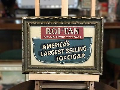 """1940's ROI-TAN CIGARS Tobacco Framed Ad        """"Watch Video"""""""