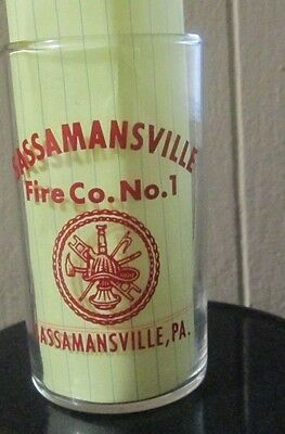 """1954 Federal Glass Sassamansville Pa Fire Co. No. 1 Grand Opening Juice Glass 4"""""""