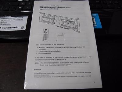 Vintage Ibm Ps/2 80286 Memory Expansion Option Instruction Manual & Software