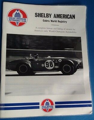 1st Edition Shelby American Auto Club Cobra World Registry Directory 1976 SAAC