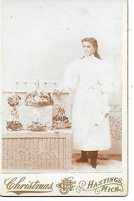 Girl Poses w/ Flower Baskets ~ Cabinet Card by Christmas in Hastings Michigan