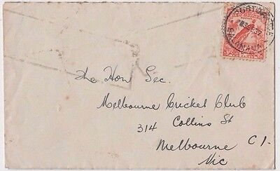 Stamp 1937 New Guinea 2d orange bird cover Salamaua to Melbourne Cricket Club