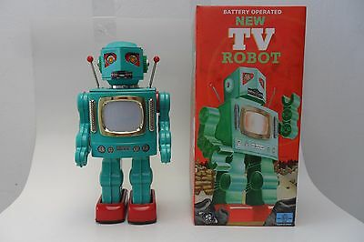 Rare New TV Robot Battery Operated by RM Metal House Toys Made in Japan Box