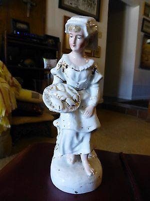 Antique White Paste Porcelain Figurine-Lady With Platter-Gold Trim-Mid-1800S