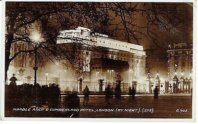"""RPPC Of """" Marble Arch and Cumberland Hotel,London( By Night)""""  posted 1936"""