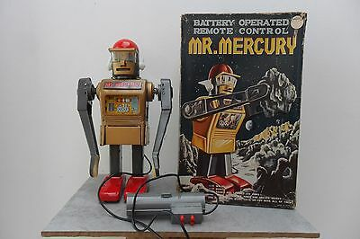 Rare Gold Mr Mercury Robot Marx Toys Made in Japan 1960's Battery Oper. Box