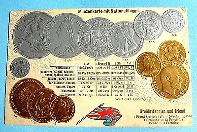 Great Britain England, Ireland Stationery Mint Coin Card. Embossed in original c