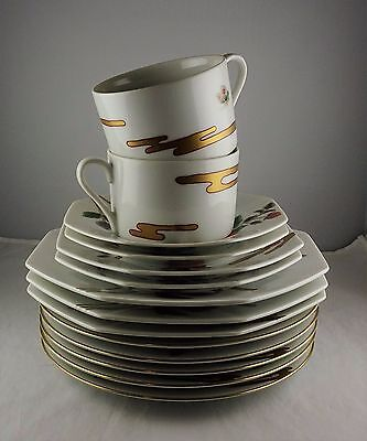 14 Asst Pcs. Fitz and Floyd China - Fleur et Nuages - Plates, Cups, Saucers