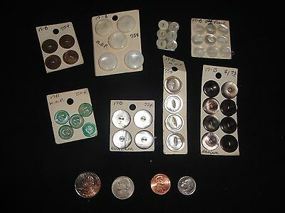 B33 ~ BUTTONARAMA! Vintage Mother of pearl buttons ~ sets on homemade cards
