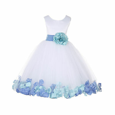 Wedding White Tulle Flower Girl Dress Mixed Rose Petals Recital Pageant Princess