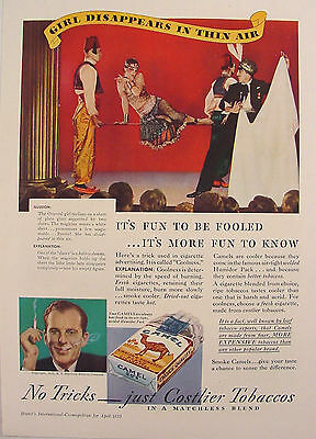 '33 Camel Cigarettes Ad Disappearing Girl Magic Trick Magician Fun to Be Fooled