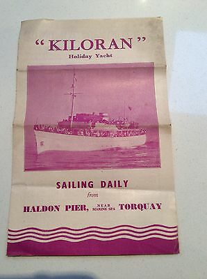 Kiloran - Torquay Holiday Yacht - 1949 Programme Of Sailings