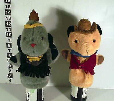"""10"""" MUSICAL COWBOY SOOTY & INDIAN SWEEP - 2 x HAND GLOVE PUPPET WITH MUSIC SOUND"""