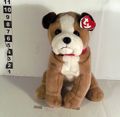 "10"" Ty Beanie Buddies Classic  Dog Soft Toy Shredder Bulldog"