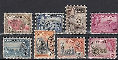 Gold Coast. 8 --Early Qe2 Used Stamps On Stockcard. Includes 2/-.