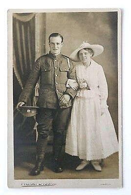 WW1 Era RP Postcard MAN OF ARMY SERVICE CORPS With Wife, Liverpool