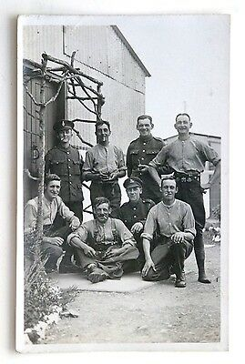 WW1 RP Postcard GROUP OF MEN at Camp: Army Remount Service and Others