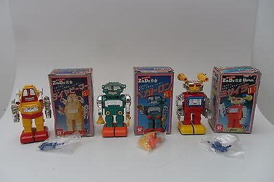 Rare Group Space Robot Diecast/Plastic Body Articulate Made in Japan 1970's Box