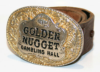 Vintage 1970's GOLDEN NUGGET Gambling Hall Buckle Brass with IBEX Leather Belt