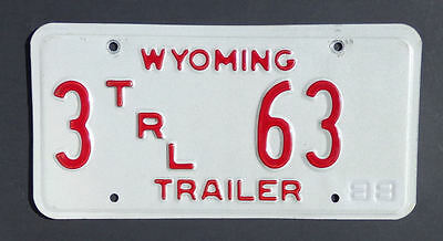 1988 Wyoming Trailer License Plate #3 63