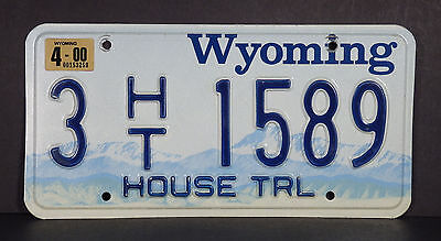 2000 Wyoming House Trailer License Plate #3 1589