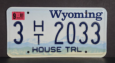 2001 Wyoming House Trailer License Plate #3 2033