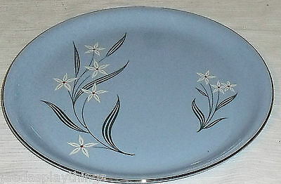 "Homer Laughlin Plate Skytone Blue NARCISSUS Dinner 10"" Vtg 1950s"