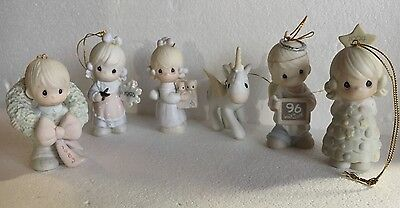 Lot of 7 PRECIOUS MOMENTS 1980s-90s Christmas ORNAMENTS Unicorn,Snowflake,Kitty
