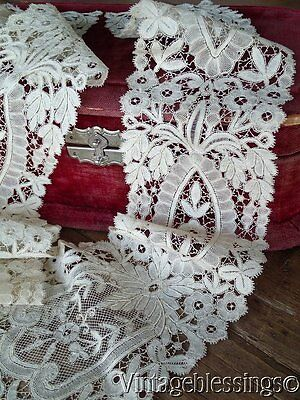 Large Beautiful Antique Brussels Rosepoint Lace Collar