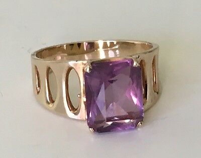 10k gold ring with emerald cut amethyst from Birks in Birks box