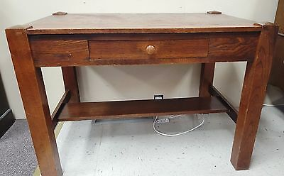 Antique Arts & Crafts Mission Stickley Style Oak Library Table/writing Desk 1900