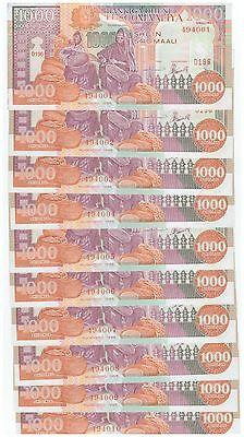 SOMALIA 1000 SHILLINGS 1996 P-37 UNC LOT 10 Pieces (PCS)